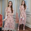 Đầm voan cổ tim hoa hồng nổi - hàng nhập Quảng Châu cao cấp