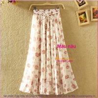 Chân váy lụa kiểu maxi in hoa hai lớp GLV017-Brown