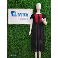 Váy ôm tay ngắn phối voan xẻ tà đen pha đỏ