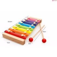 Đồ chơi gỗ thông minh kiêm nhạc cụ, bộ đàn xylophone nhiều màu sắc