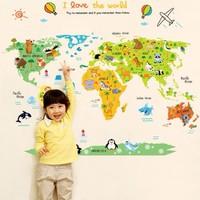 Decal dán tường bản đồ thế giới cho bé yêu