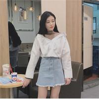 Chân váy jean ngắn rách lai màu nhạt