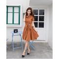 Đầm xòe sơ mi màu cam thích hợp công sở hay dạo phố