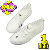 Giày oxford nữ trắng có dây