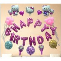 Set bong bóng trang trí sinh nhật HELLO KITTY tặng kèm máy bơm