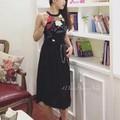 Đầm thêu hoa cổ yếm hàng quảng châu