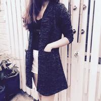 Áo khoác len xanh đen  muối tiêu