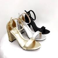 giày gót vuông kim tuyến