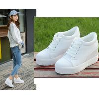 Giày bata độn da trơn cổ ngắn màu trắng