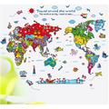 Decal dán tường bản đồ thế giới cho bé