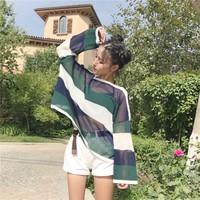 áo len nữ sọc phối màu Mã: AK2013 - XANH LÁ