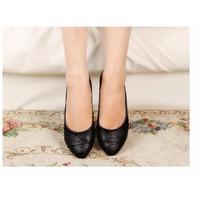 Giày búp bê nữ da xếp nơ - LN1386