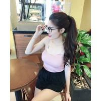 áo dây ken gân - hồng phấn