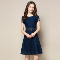 Đầm Jean Tay Phối Ren