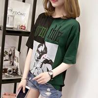 áo thun nữ phối màu Mã: AX3263 - XANH LÁ
