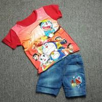 Bộ áo thun quần jeans Doremon màu đỏ MM012t