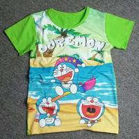 Áo thun 3D in hình Doremon màu xanh lá MM011d