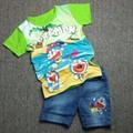 Bộ áo thun quần jeans Doremon màu xanh lá MM012i