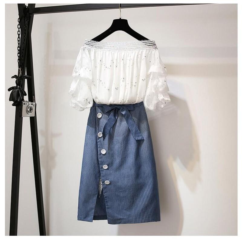 Set áo voan cách điệu và chân váy jean sọc
