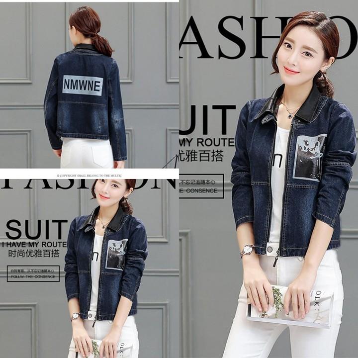 Áo khoác jean nữ in chữ lưng cách điệu sang trọng
