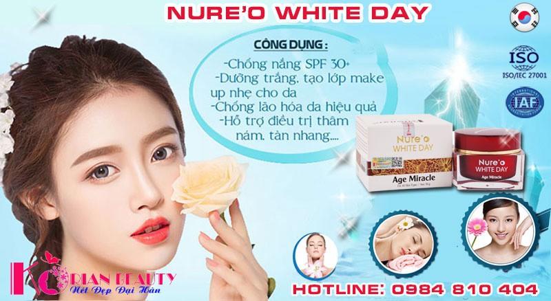 kem trắng da mặt nure'o white day