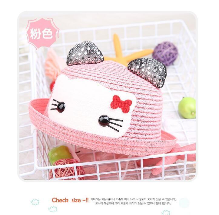 Nón cối chống nắng họa tiết mèo Kitty - Hồng nhạt