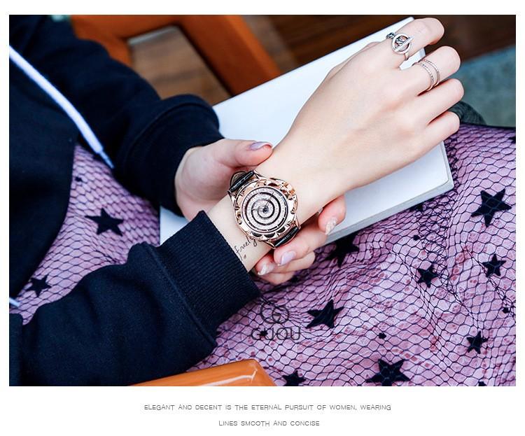Đồng hồ nữ mặt xoắn ốc đính hạt