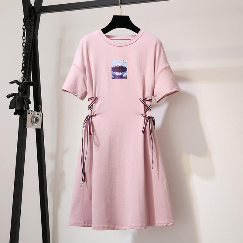 Đầm suông thun eo thắt dây