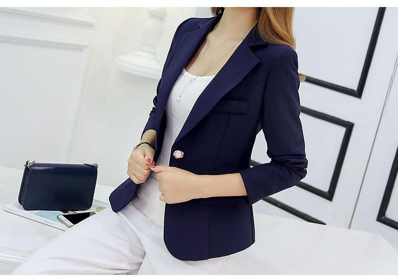 Áo khoác vest nữ nút đính hạt - Xanh dương đậm