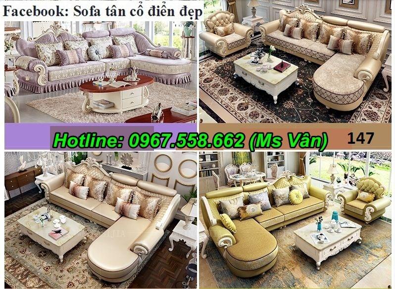 Ghế sofa góc phòng khách gỗ tân cổ điển đẹp chất lượng châu âu