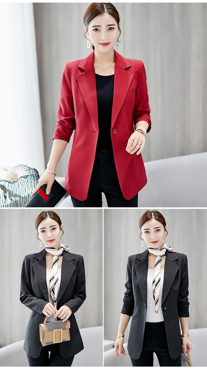 Áo khoác vest nữ công sở có túi - Đỏ đô