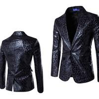 áo khoác blazer da cá tính Mã: NK1139 - ĐEN