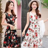 Đầm Xòe Vintage Sát Nách 2 Tầng Hoa Mùa Xuân Cao Cấp