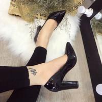 Giày cao gót đế vuông 10cm