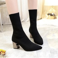Giày boot len gót vuông