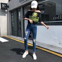 quần jeans skinny rách Mã: QD1728 - XANH