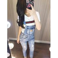 Quần yếm jean nữ dài