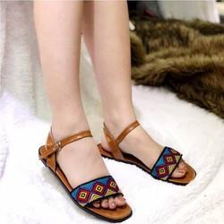 giày sandal quai ngang thổ cẩm