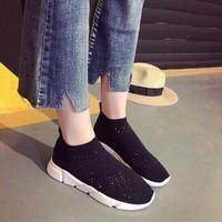 Giày bata nữ thun kết hạt