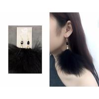 Bông tai lông vũ đen thời trang