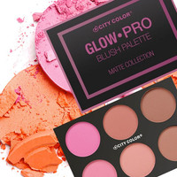 Má hồng City Color Glow-Pro Blush Palette Matte Collection