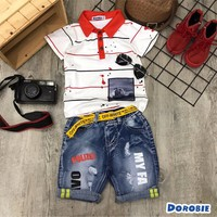 Set bộ bé trai áo thun phối cổ quần jeans