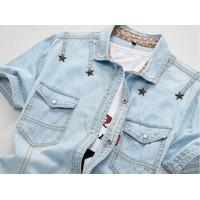 áo sơ mi denim đính ngôi sao Mã: NM628 - XANH NHẠT