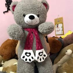 Thú bông gấu bông lông xù quàng khăn hình bàn chân gấu 1m4