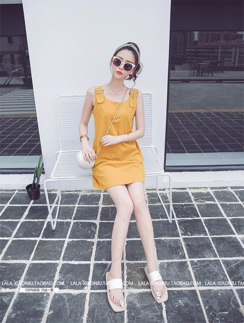 Đầm suông yếm cam trẻ trung D021