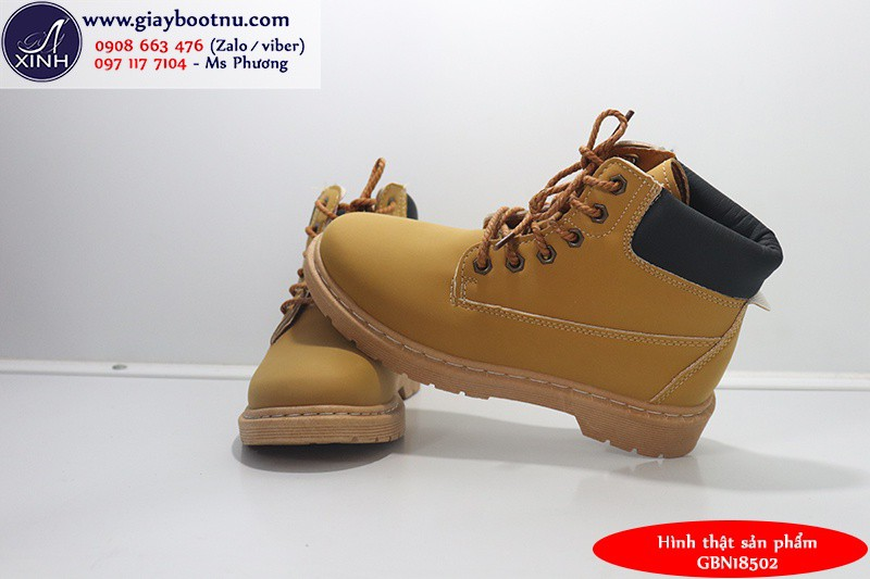 Giày boot nữ Martin chuẩn sành điệu màu bò GBN18502