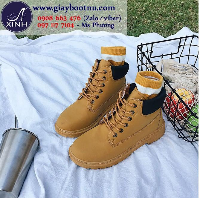 Giày boot nữ Martin chuẩn sành điệu màu bò GBN18503
