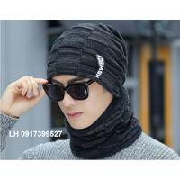 Nón len khăn choàng mũ len nam nữ khăn choàng L12NL115