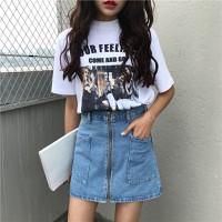 Chân váy jean ngắn túi to dây kéo