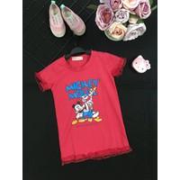 Đầm in hình Mickey Mouse phối ren cho bé gái